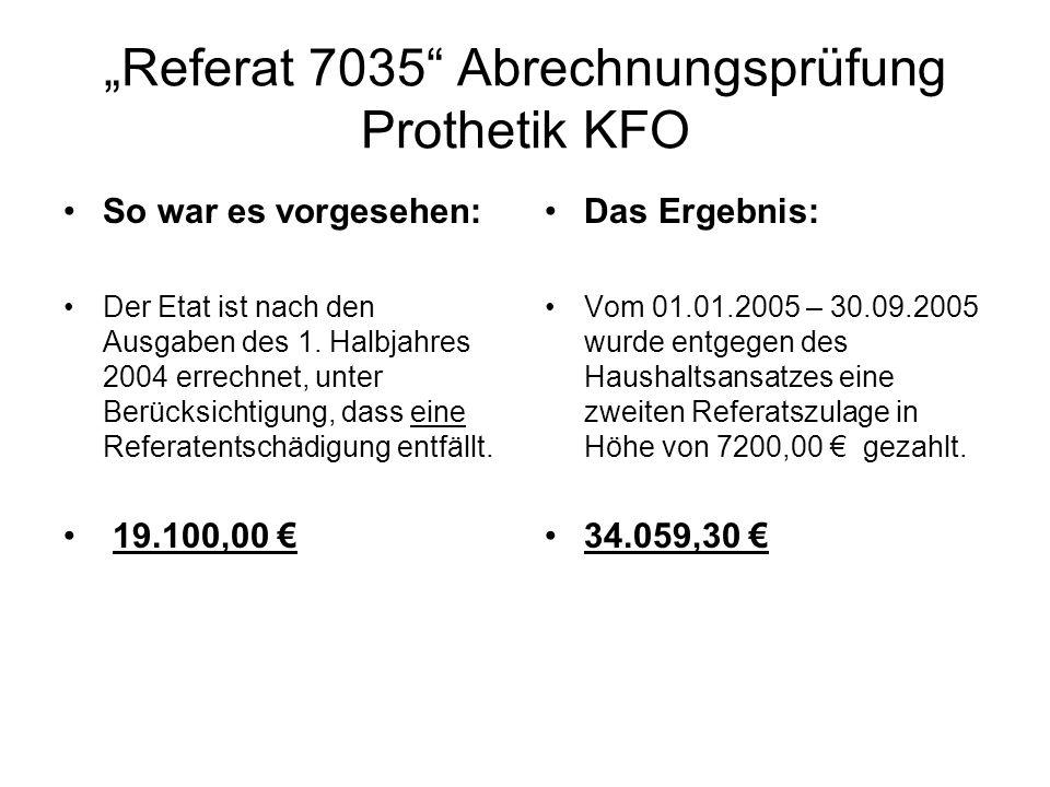 Referat 7035 Abrechnungsprüfung Prothetik KFO So war es vorgesehen: Der Etat ist nach den Ausgaben des 1. Halbjahres 2004 errechnet, unter Berücksicht