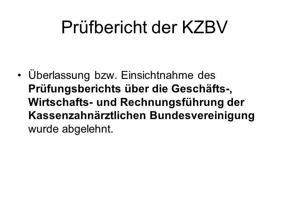 Prüfbericht der KZBV Überlassung bzw. Einsichtnahme des Prüfungsberichts über die Geschäfts-, Wirtschafts- und Rechnungsführung der Kassenzahnärztlich