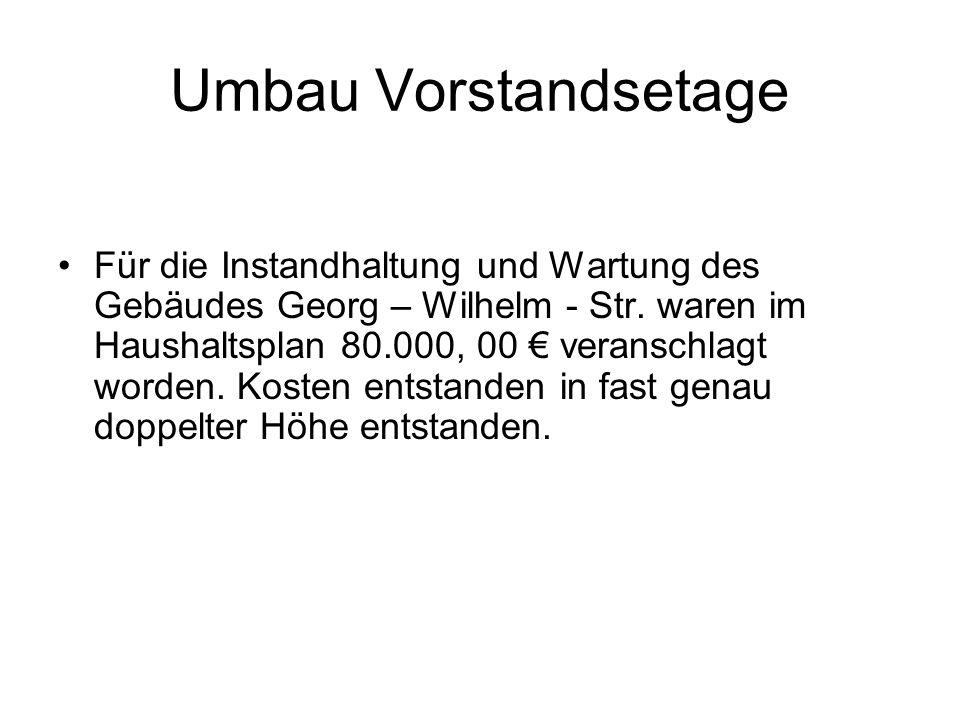 Umbau Vorstandsetage Für die Instandhaltung und Wartung des Gebäudes Georg – Wilhelm - Str. waren im Haushaltsplan 80.000, 00 veranschlagt worden. Kos