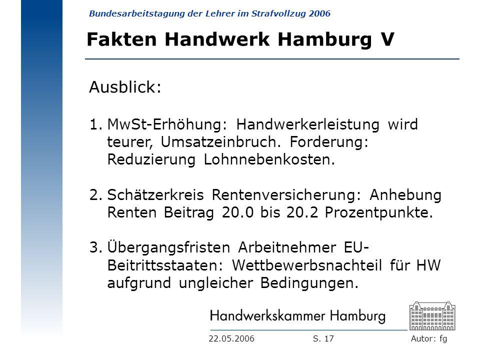 Autor: fg Bundesarbeitstagung der Lehrer im Strafvollzug 2006 S. 1722.05.2006 Fakten Handwerk Hamburg V Ausblick: 1.MwSt-Erhöhung: Handwerkerleistung