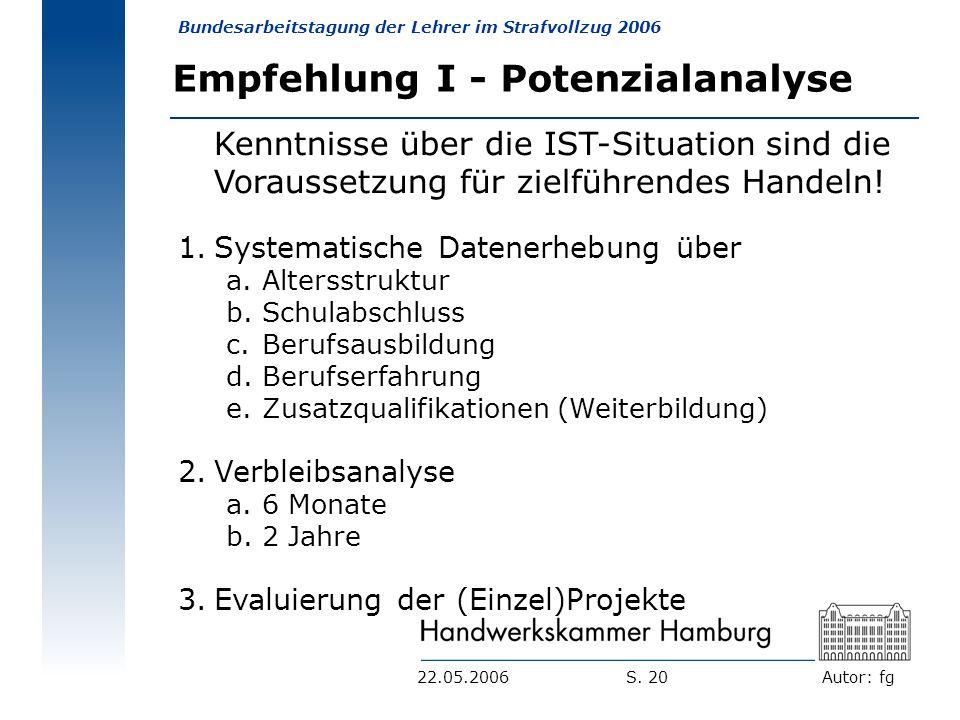 Autor: fg Bundesarbeitstagung der Lehrer im Strafvollzug 2006 S. 2022.05.2006 Empfehlung I - Potenzialanalyse Kenntnisse über die IST-Situation sind d