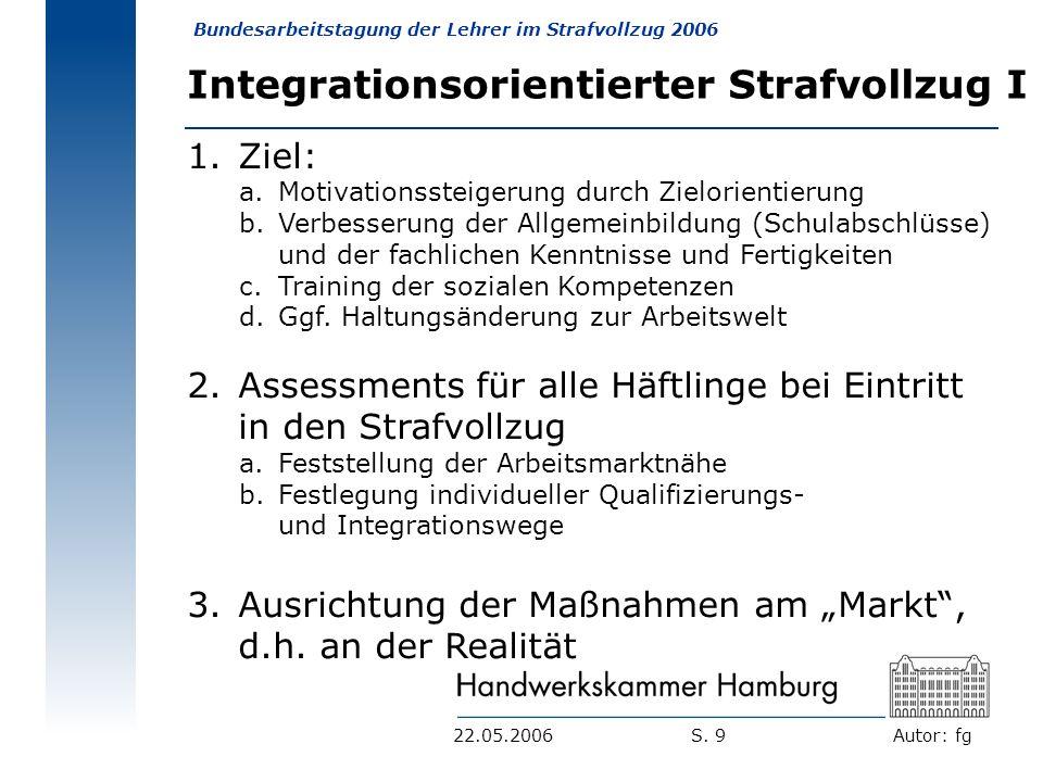 Autor: fg Bundesarbeitstagung der Lehrer im Strafvollzug 2006 S. 922.05.2006 Integrationsorientierter Strafvollzug I 1. Ziel: a.Motivationssteigerung
