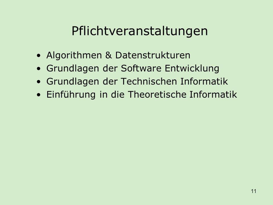 11 Pflichtveranstaltungen Algorithmen & Datenstrukturen Grundlagen der Software Entwicklung Grundlagen der Technischen Informatik Einführung in die Th