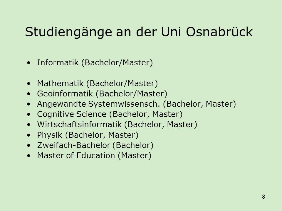 8 Studiengänge an der Uni Osnabrück Informatik (Bachelor/Master) Mathematik (Bachelor/Master) Geoinformatik (Bachelor/Master) Angewandte Systemwissens