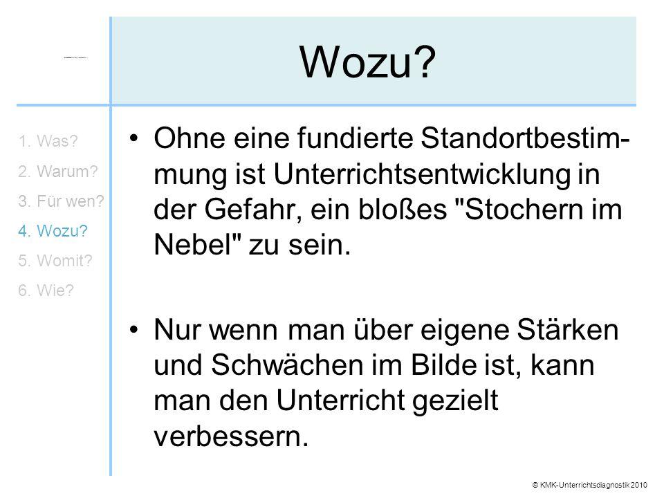 © KMK-Unterrichtsdiagnostik 2010 Wozu? Ohne eine fundierte Standortbestim- mung ist Unterrichtsentwicklung in der Gefahr, ein bloßes