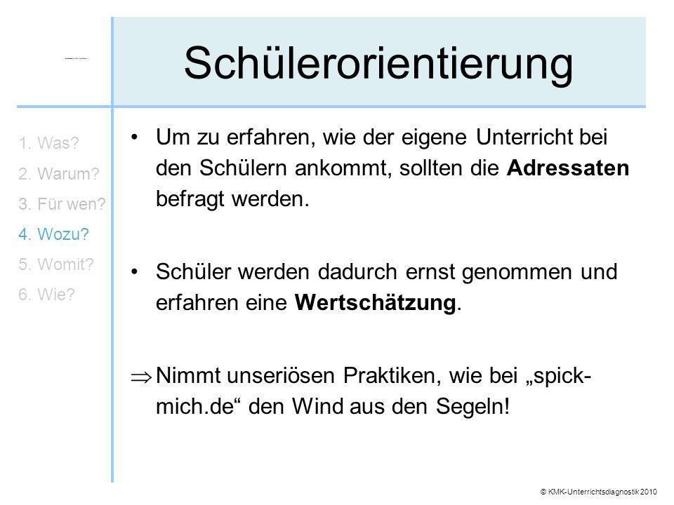© KMK-Unterrichtsdiagnostik 2010 Schülerorientierung Um zu erfahren, wie der eigene Unterricht bei den Schülern ankommt, sollten die Adressaten befrag