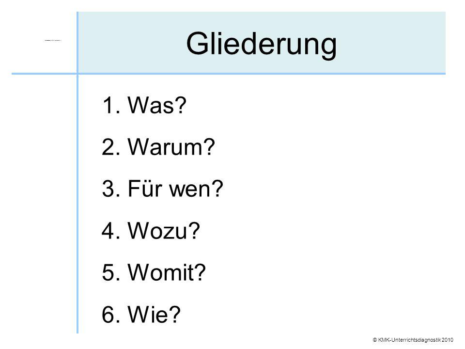 © KMK-Unterrichtsdiagnostik 2010 Gliederung 1. Was? 2. Warum? 3. Für wen? 4. Wozu? 5. Womit? 6. Wie?