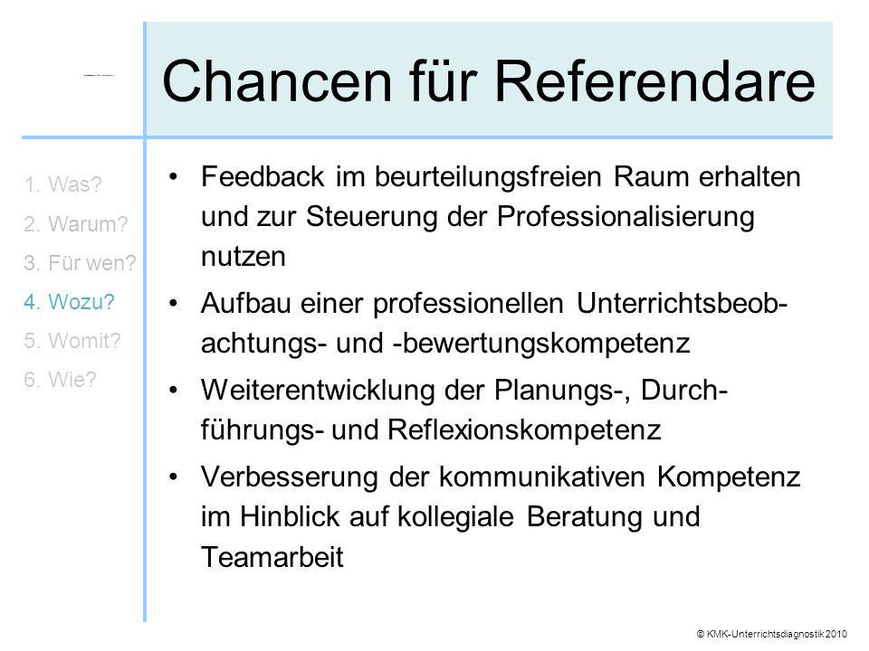 © KMK-Unterrichtsdiagnostik 2010 Chancen für Referendare Feedback im beurteilungsfreien Raum erhalten und zur Steuerung der Professionalisierung nutze