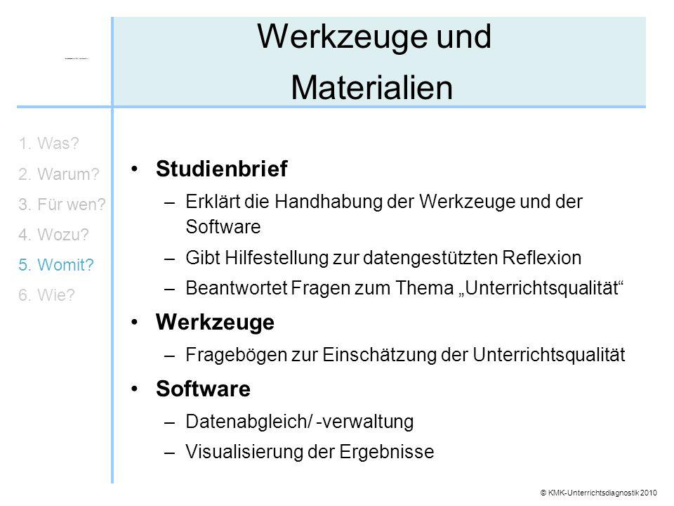 © KMK-Unterrichtsdiagnostik 2010 Werkzeuge und Materialien Studienbrief –Erklärt die Handhabung der Werkzeuge und der Software –Gibt Hilfestellung zur