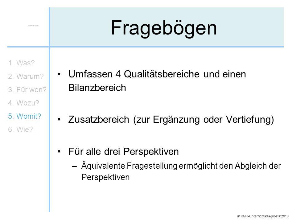 © KMK-Unterrichtsdiagnostik 2010 Fragebögen Umfassen 4 Qualitätsbereiche und einen Bilanzbereich Zusatzbereich (zur Ergänzung oder Vertiefung) Für all