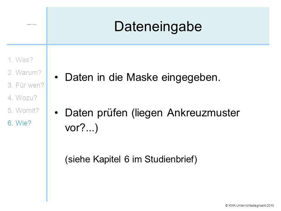 © KMK-Unterrichtsdiagnostik 2010 Dateneingabe 1. Was? 2. Warum? 3. Für wen? 4. Wozu? 5. Womit? 6. Wie? Daten in die Maske eingegeben. Daten prüfen (li