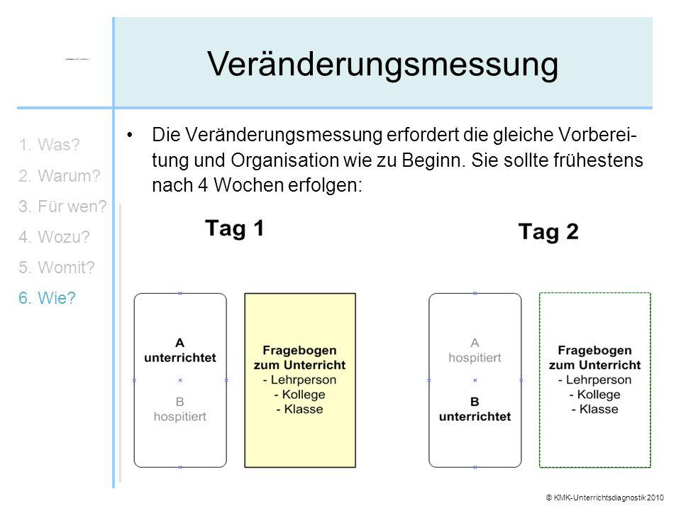 © KMK-Unterrichtsdiagnostik 2010 Veränderungsmessung 1. Was? 2. Warum? 3. Für wen? 4. Wozu? 5. Womit? 6. Wie? Die Veränderungsmessung erfordert die gl