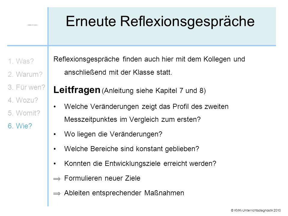 © KMK-Unterrichtsdiagnostik 2010 Erneute Reflexionsgespräche 1. Was? 2. Warum? 3. Für wen? 4. Wozu? 5. Womit? 6. Wie? Reflexionsgespräche finden auch