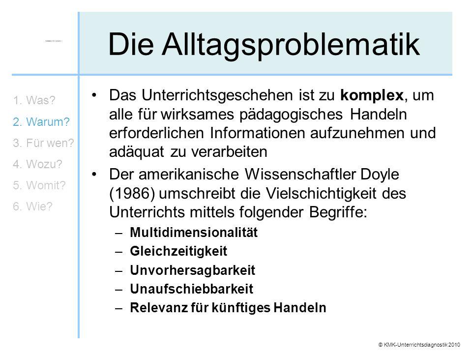 © KMK-Unterrichtsdiagnostik 2010 Die Alltagsproblematik Das Unterrichtsgeschehen ist zu komplex, um alle für wirksames pädagogisches Handeln erforderl