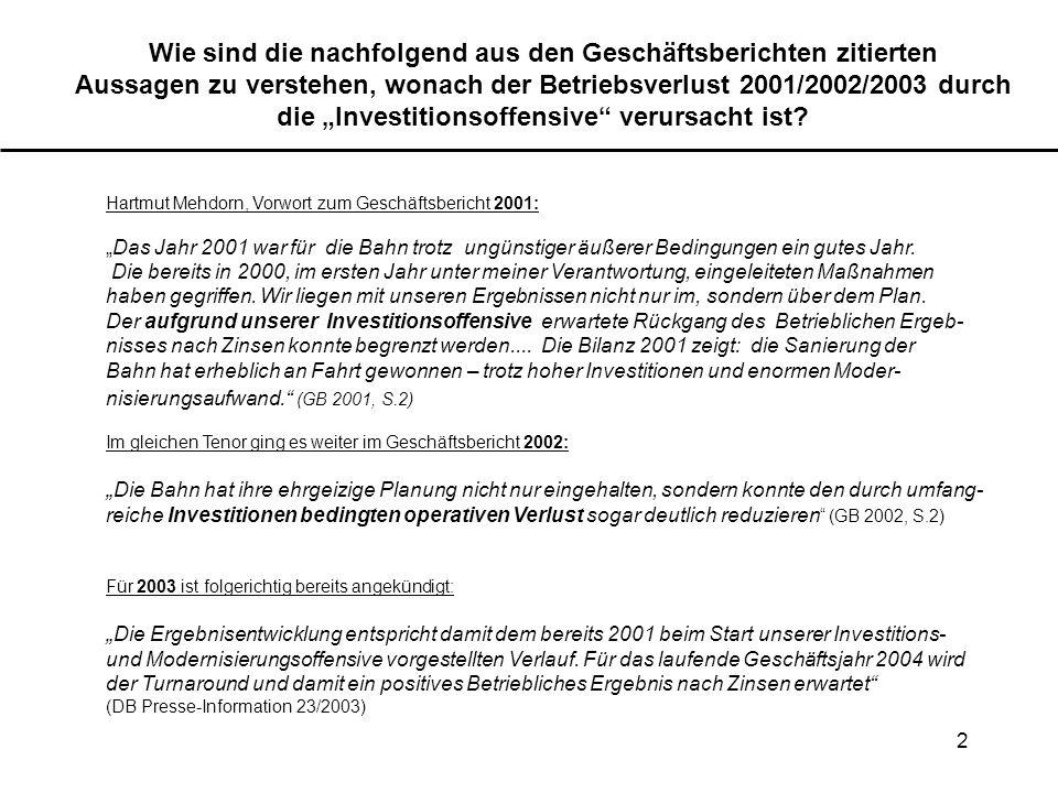 2 Wie sind die nachfolgend aus den Geschäftsberichten zitierten Aussagen zu verstehen, wonach der Betriebsverlust 2001/2002/2003 durch die Investition