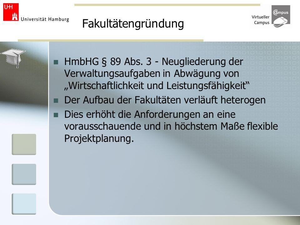 Fakultätengründung HmbHG § 89 Abs. 3 - Neugliederung der Verwaltungsaufgaben in Abwägung von Wirtschaftlichkeit und Leistungsfähigkeit Der Aufbau der