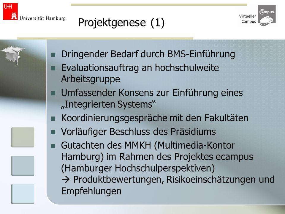 Projektgenese (1) Dringender Bedarf durch BMS-Einführung Evaluationsauftrag an hochschulweite Arbeitsgruppe Umfassender Konsens zur Einführung eines I
