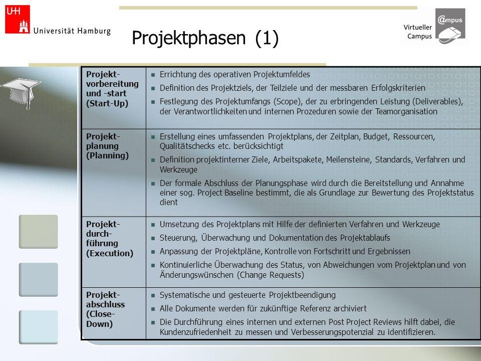 Projektphasen (1) Projekt- vorbereitung und -start (Start-Up) Errichtung des operativen Projektumfeldes Definition des Projektziels, der Teilziele und