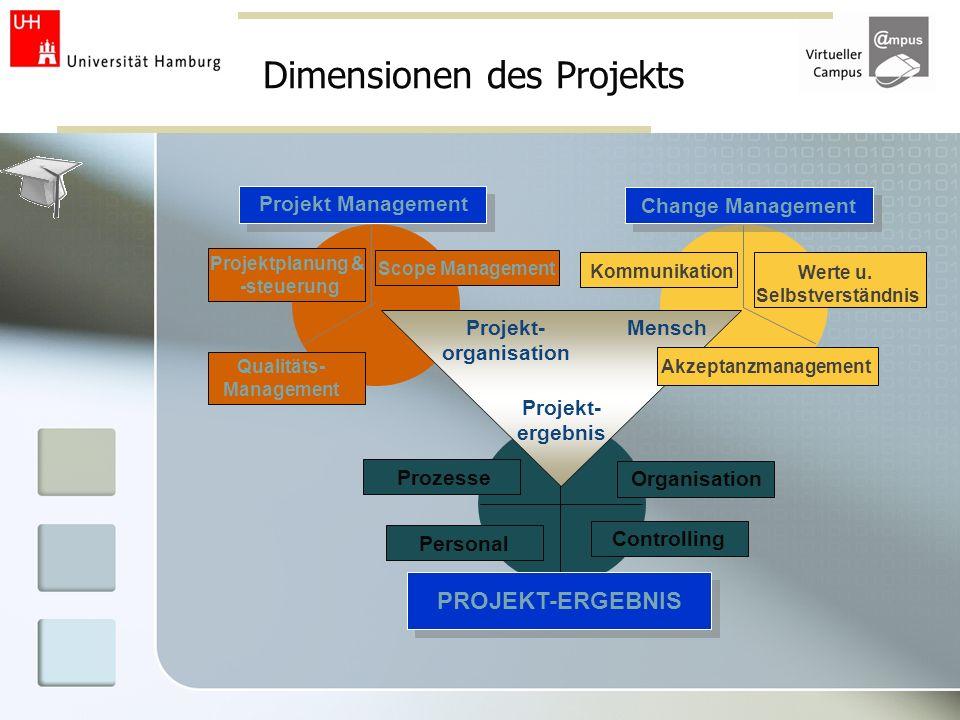 Dimensionen des Projekts Werte u. Selbstverständnis Change Management Kommunikation Projekt Management Scope Management Projektplanung & -steuerung Qu