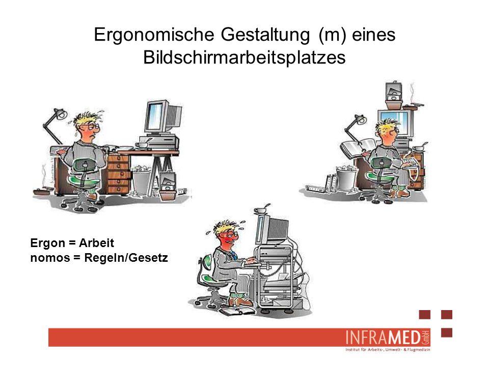 Ergonomische Gestaltung (m) eines Bildschirmarbeitsplatzes Ergon = Arbeit nomos = Regeln/Gesetz