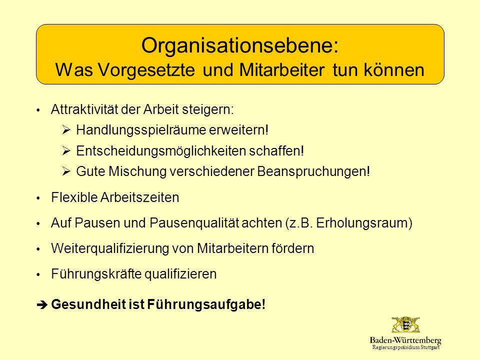 Regierungspräsidium Stuttgart Organisationsebene: Was Vorgesetzte und Mitarbeiter tun können Attraktivität der Arbeit steigern: Handlungsspielräume erweitern.