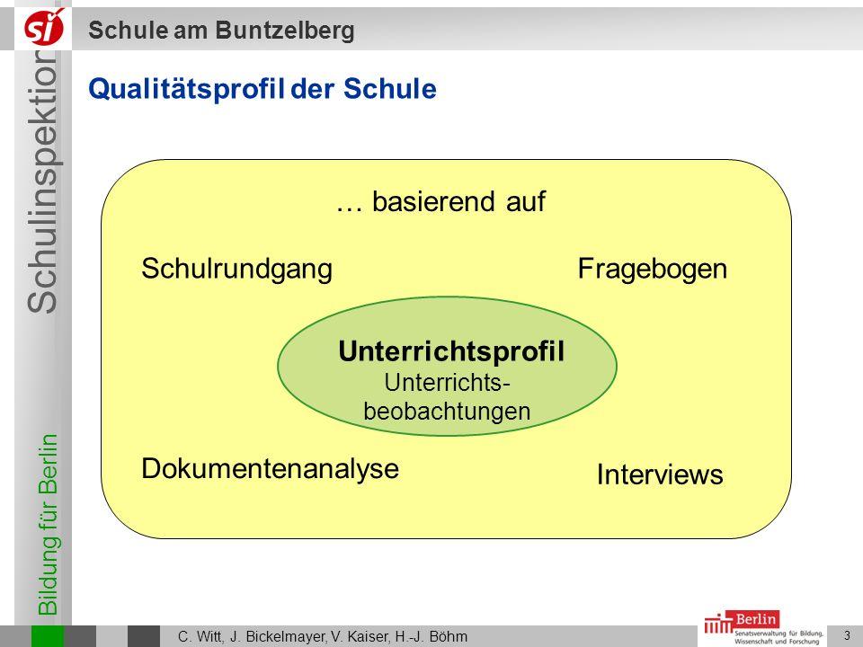 Bildung für Berlin Schulinspektion Schule am Buntzelberg C. Witt, J. Bickelmayer, V. Kaiser, H.-J. Böhm 3 Qualitätsprofil der Schule … basierend auf S