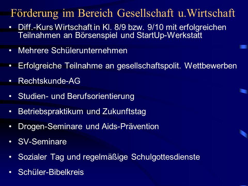 Förderung im Bereich Gesellschaft u.Wirtschaft Diff.-Kurs Wirtschaft in Kl. 8/9 bzw. 9/10 mit erfolgreichen Teilnahmen an Börsenspiel und StartUp-Werk