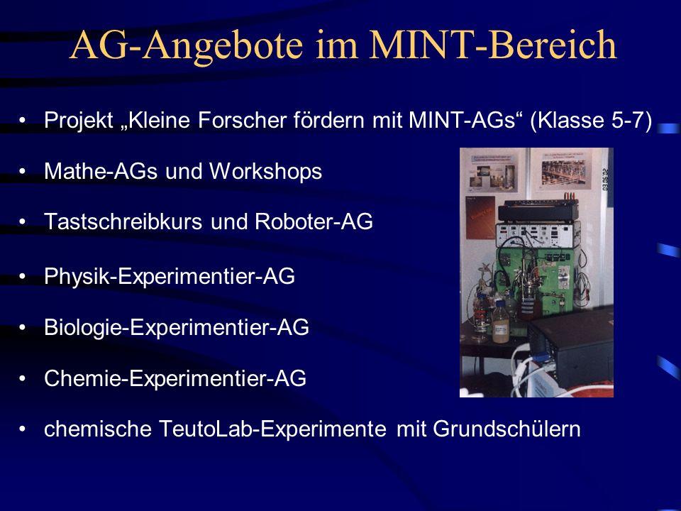 AG-Angebote im MINT-Bereich Projekt Kleine Forscher fördern mit MINT-AGs (Klasse 5-7) Mathe-AGs und Workshops Tastschreibkurs und Roboter-AG Physik-Ex
