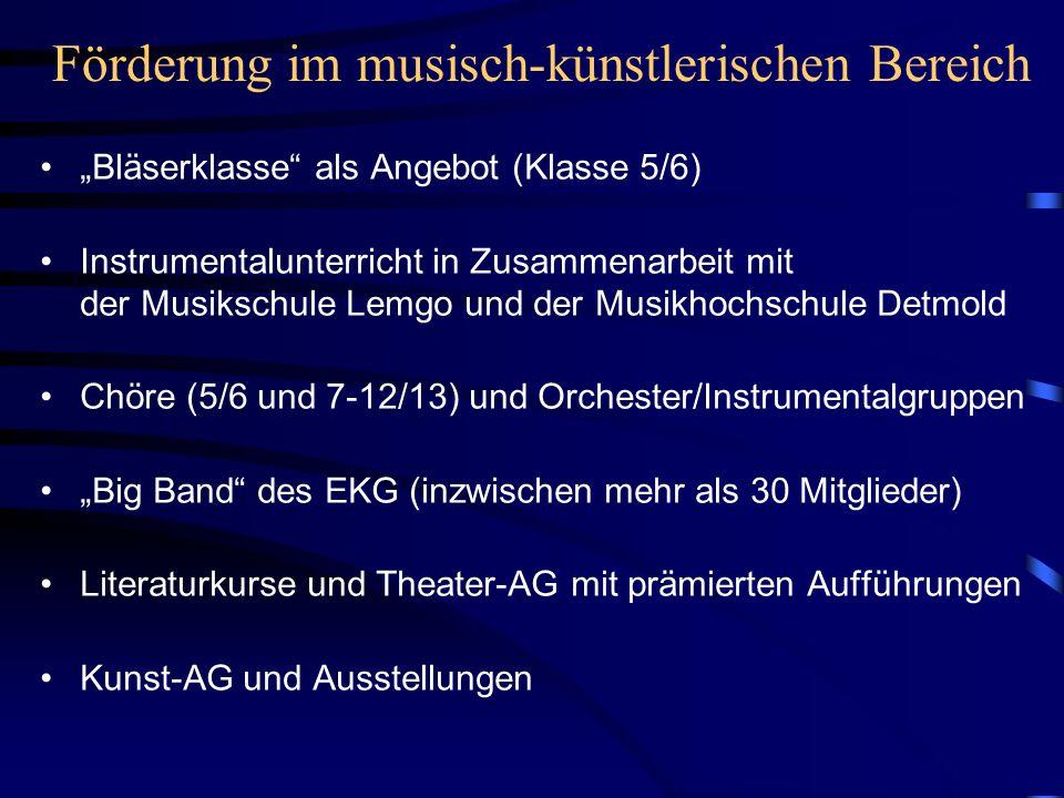 Förderung im musisch-künstlerischen Bereich Bläserklasse als Angebot (Klasse 5/6) Instrumentalunterricht in Zusammenarbeit mit der Musikschule Lemgo u