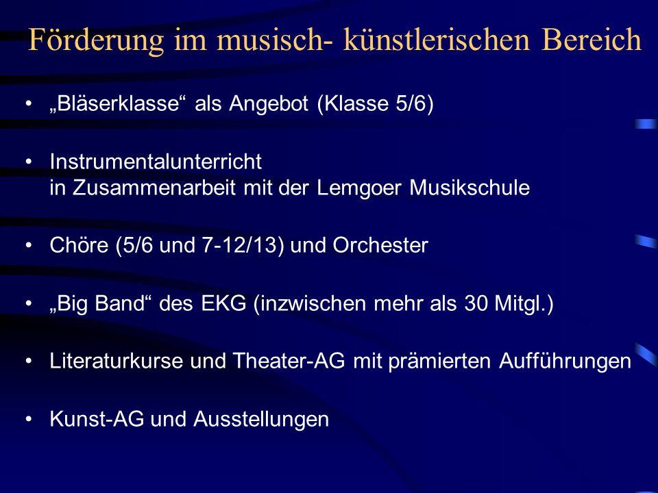 Förderung im musisch- künstlerischen Bereich Bläserklasse als Angebot (Klasse 5/6) Instrumentalunterricht in Zusammenarbeit mit der Lemgoer Musikschul
