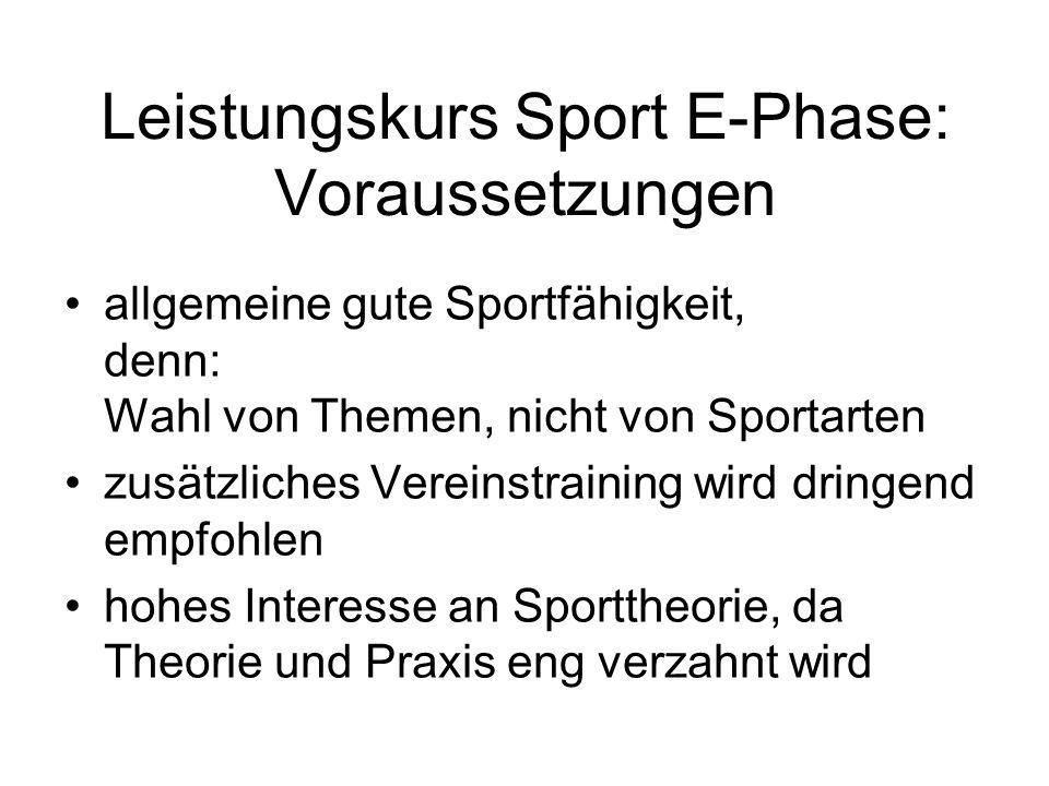 Leistungskurs Sport E-Phase: Voraussetzungen allgemeine gute Sportfähigkeit, denn: Wahl von Themen, nicht von Sportarten zusätzliches Vereinstraining