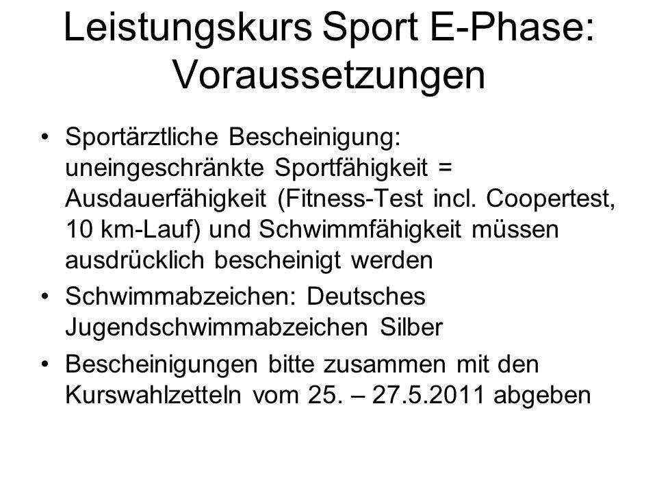 Leistungskurs Sport E-Phase: Voraussetzungen Sportärztliche Bescheinigung: uneingeschränkte Sportfähigkeit = Ausdauerfähigkeit (Fitness-Test incl. Coo