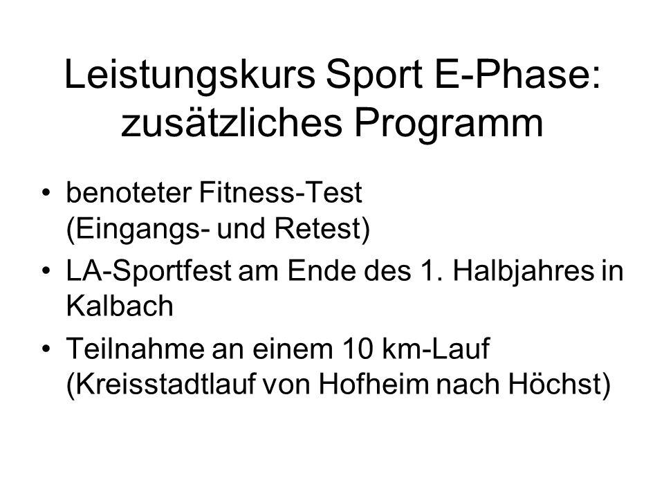 Leistungskurs Sport E-Phase: zusätzliches Programm benoteter Fitness-Test (Eingangs- und Retest) LA-Sportfest am Ende des 1. Halbjahres in Kalbach Tei