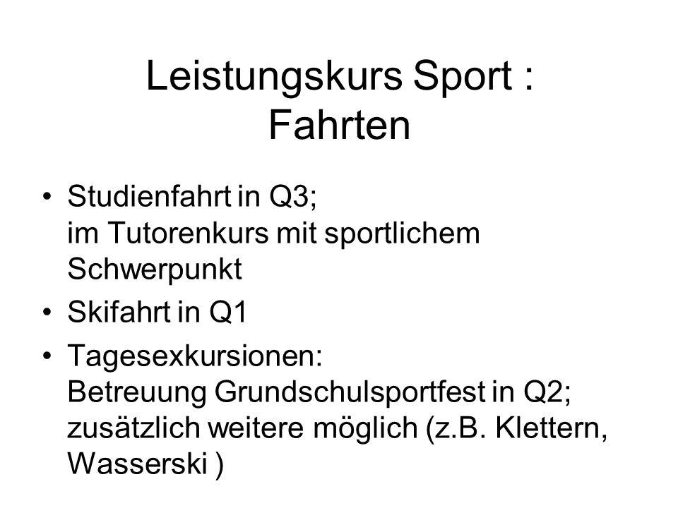 Leistungskurs Sport : Fahrten Studienfahrt in Q3; im Tutorenkurs mit sportlichem Schwerpunkt Skifahrt in Q1 Tagesexkursionen: Betreuung Grundschulspor