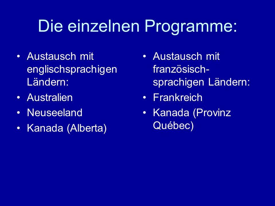Die einzelnen Programme: Austausch mit englischsprachigen Ländern: Australien Neuseeland Kanada (Alberta) Austausch mit französisch- sprachigen Länder