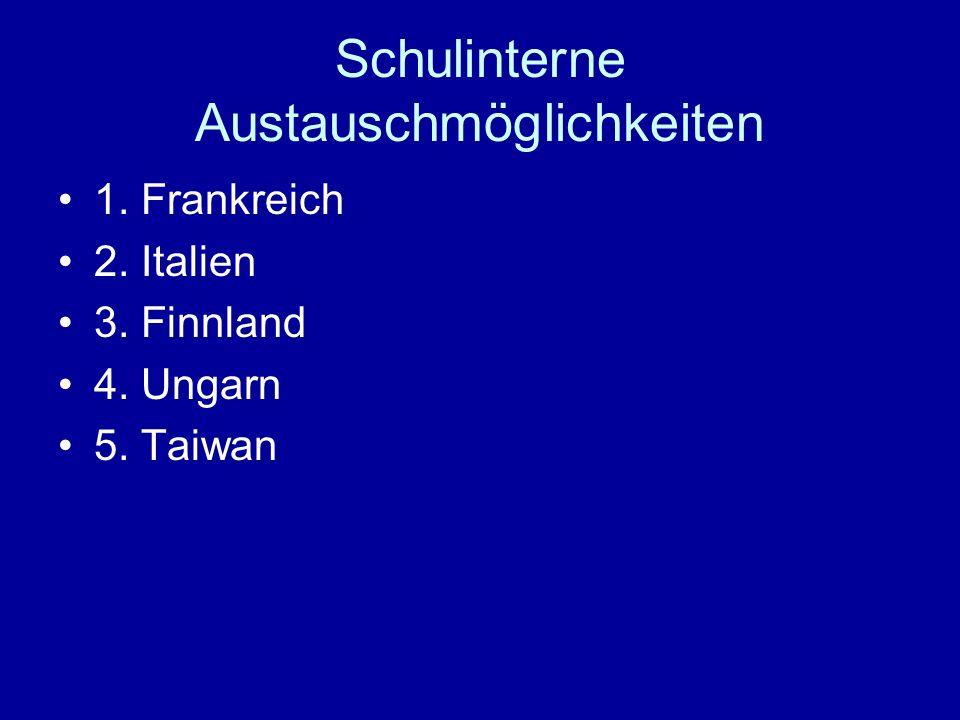 Schulinterne Austauschmöglichkeiten 1. Frankreich 2. Italien 3. Finnland 4. Ungarn 5. Taiwan