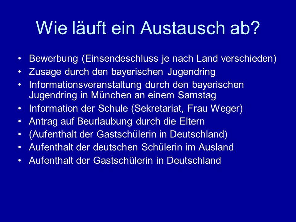 Wie läuft ein Austausch ab? Bewerbung (Einsendeschluss je nach Land verschieden) Zusage durch den bayerischen Jugendring Informationsveranstaltung dur