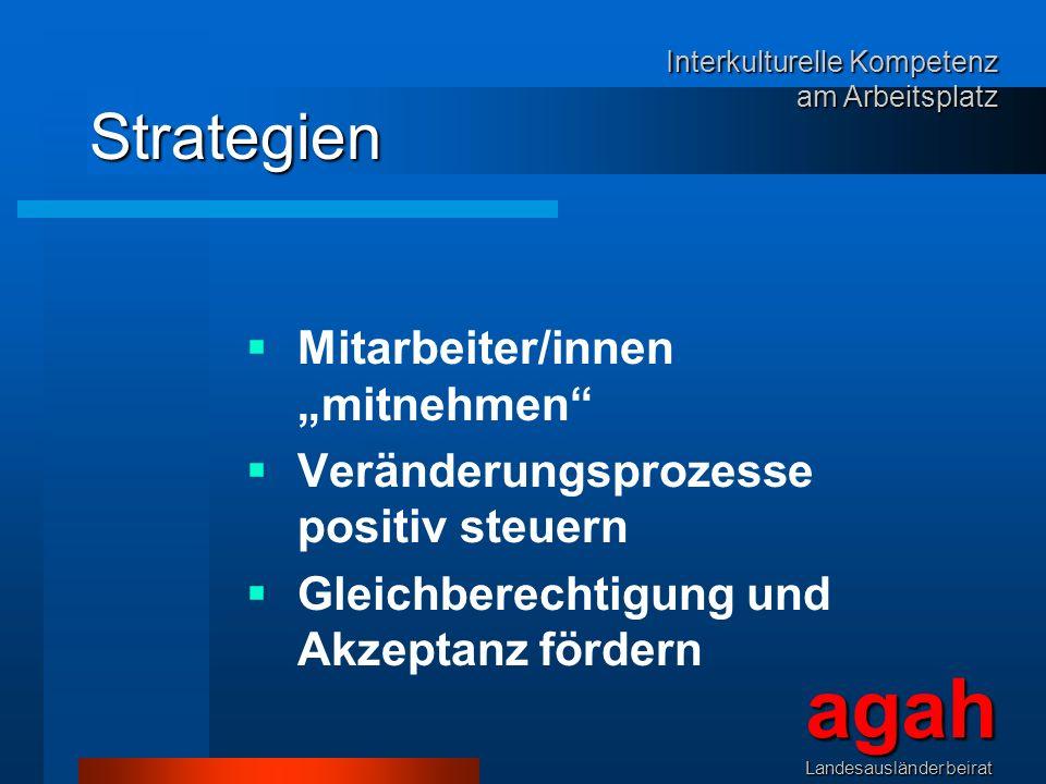 Strategien Mitarbeiter/innen mitnehmen Veränderungsprozesse positiv steuern Gleichberechtigung und Akzeptanz fördern agahLandesausländerbeirat Interku