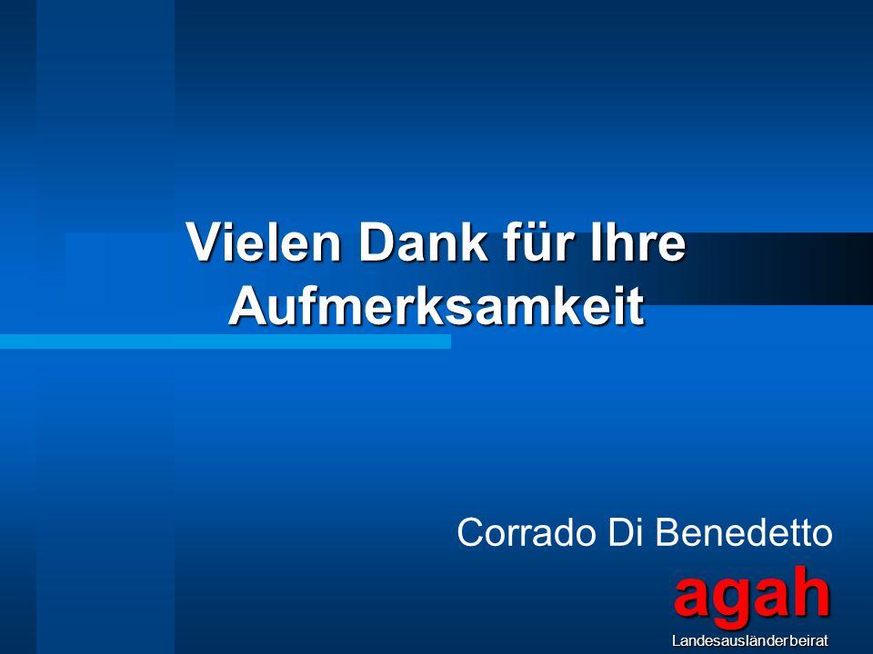 Vielen Dank für Ihre Aufmerksamkeit Corrado Di Benedetto agahLandesausländerbeirat