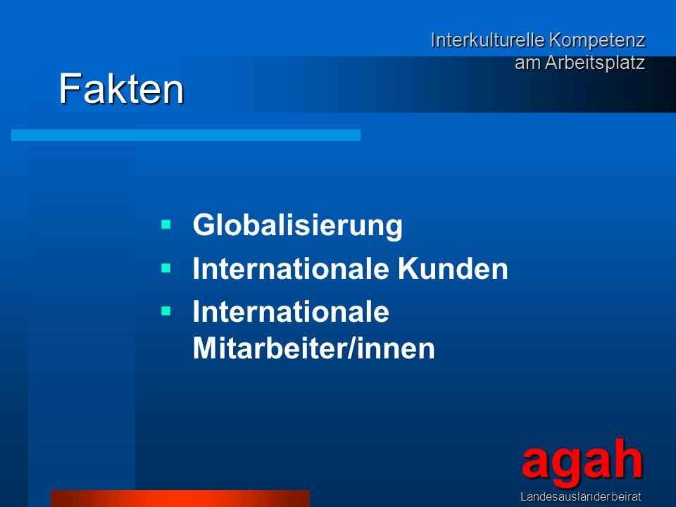 Fakten Globalisierung Internationale Kunden Internationale Mitarbeiter/innen agahLandesausländerbeirat Interkulturelle Kompetenz am Arbeitsplatz