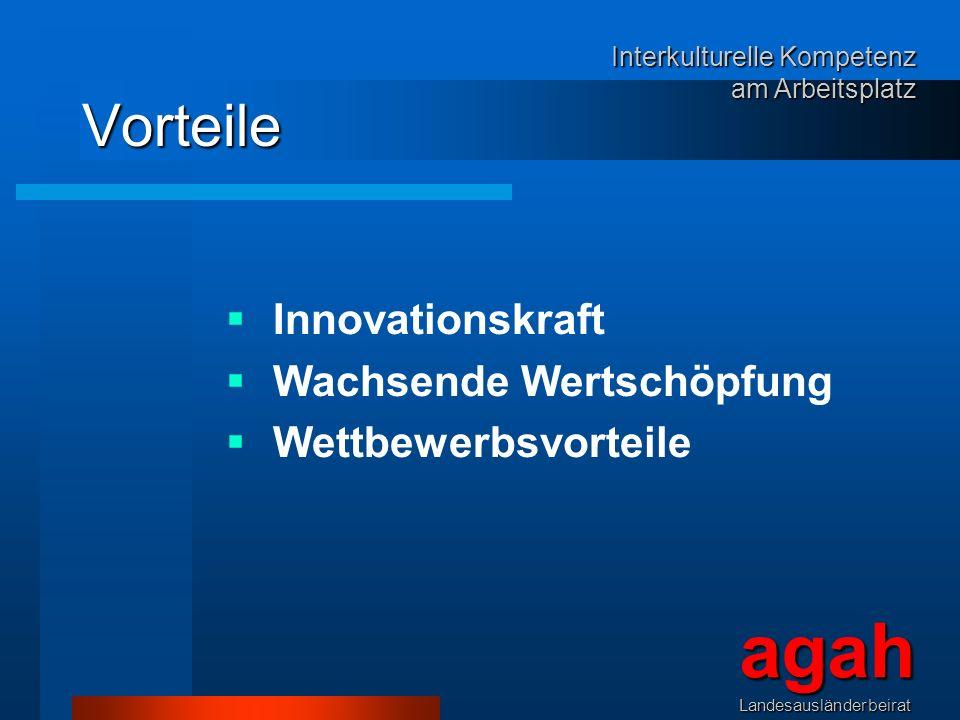 Vorteile Innovationskraft Wachsende Wertschöpfung Wettbewerbsvorteile agahLandesausländerbeirat Interkulturelle Kompetenz am Arbeitsplatz