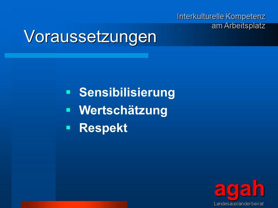 Voraussetzungen Sensibilisierung Wertschätzung Respekt agahLandesausländerbeirat Interkulturelle Kompetenz am Arbeitsplatz