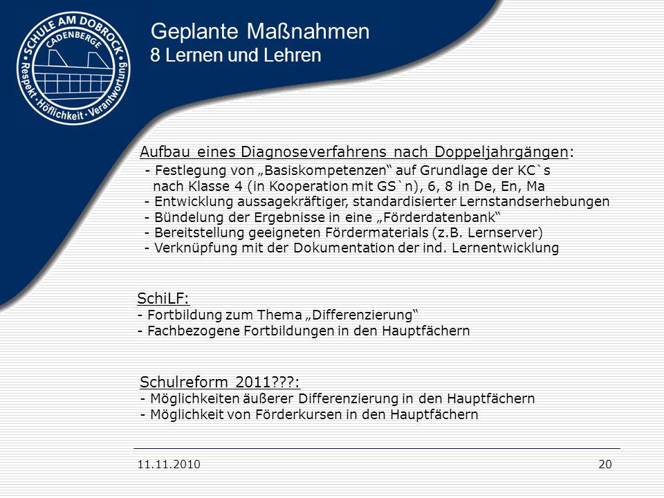 11.11.201020 Geplante Maßnahmen 8 Lernen und Lehren Aufbau eines Diagnoseverfahrens nach Doppeljahrgängen: - Festlegung von Basiskompetenzen auf Grund