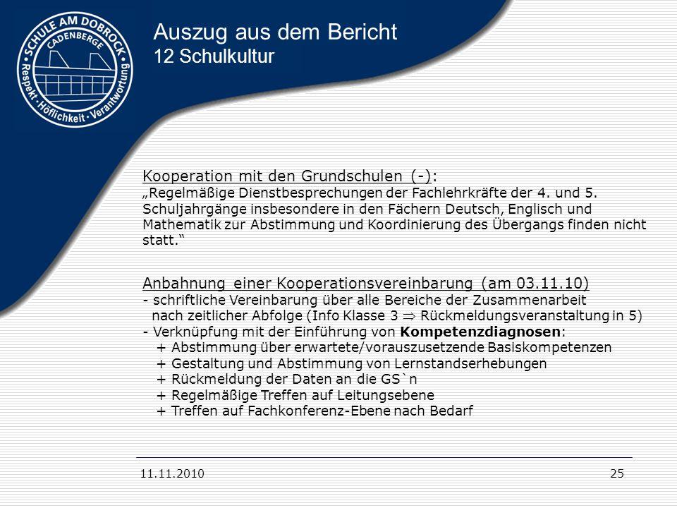 11.11.201025 Auszug aus dem Bericht 12 Schulkultur Kooperation mit den Grundschulen (-): Regelmäßige Dienstbesprechungen der Fachlehrkräfte der 4. und