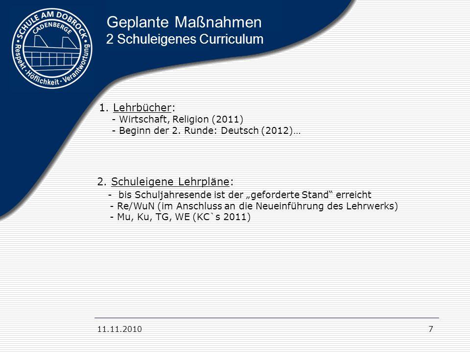 11.11.20107 Geplante Maßnahmen 2 Schuleigenes Curriculum 1. Lehrbücher: - Wirtschaft, Religion (2011) - Beginn der 2. Runde: Deutsch (2012)… 2. Schule