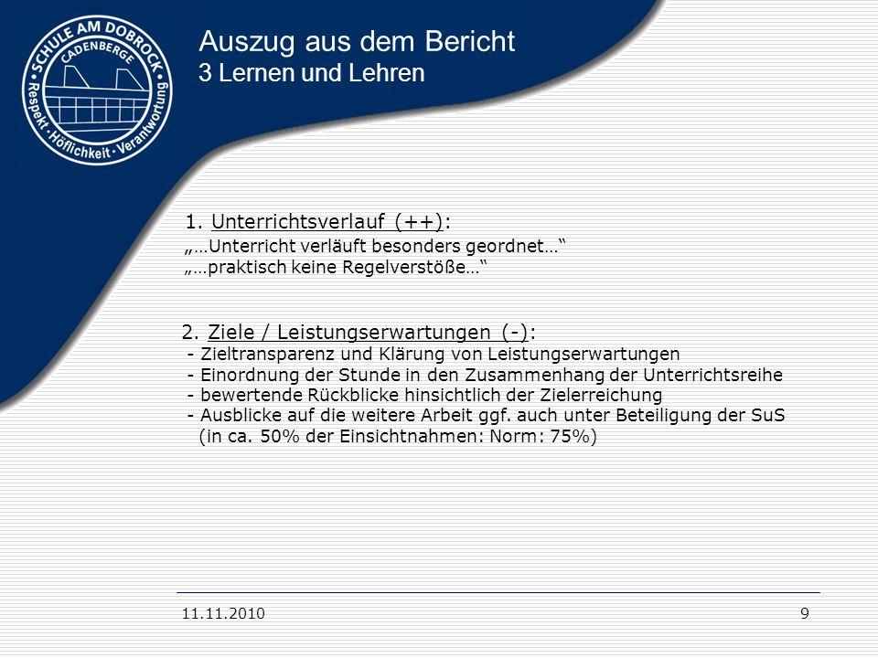 11.11.20109 Auszug aus dem Bericht 3 Lernen und Lehren 2. Ziele / Leistungserwartungen (-): - Zieltransparenz und Klärung von Leistungserwartungen - E