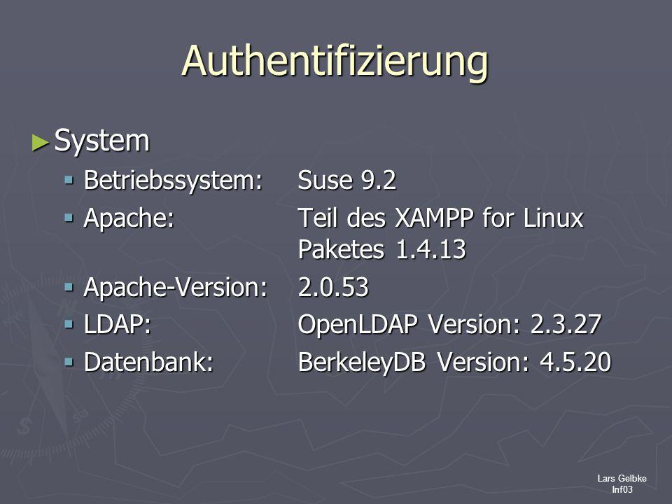 Lars Gelbke Inf03 Authentifizierung System System Betriebssystem: Suse 9.2 Betriebssystem: Suse 9.2 Apache: Teil des XAMPP for Linux Paketes 1.4.13 Ap