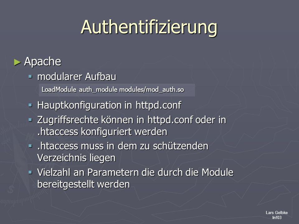 Lars Gelbke Inf03 Authentifizierung Apache Apache modularer Aufbau modularer Aufbau Hauptkonfiguration in httpd.conf Hauptkonfiguration in httpd.conf