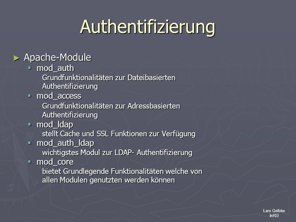 Lars Gelbke Inf03 Authentifizierung Apache-Module Apache-Module mod_auth mod_auth Grundfunktionalitäten zur Dateibasierten Authentifizierung mod_acces