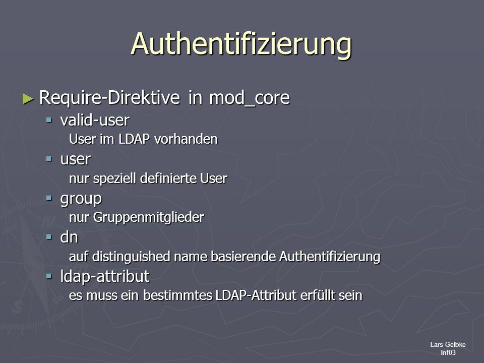 Lars Gelbke Inf03 Authentifizierung Require-Direktive in mod_core Require-Direktive in mod_core valid-user valid-user User im LDAP vorhanden user user